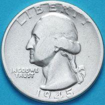 США 25 центов (квотер) 1945 год. Филадельфия. Серебро