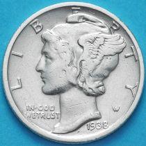 США 10 центов (дайм) 1938 год. S. Серебро
