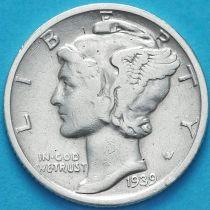 США 10 центов (дайм) 1939 год. S. Серебро