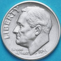 США 10 центов (дайм) 1955 год. S. Серебро