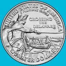 США 25 центов 2021 год. Переправа через реку Делавэр. Р