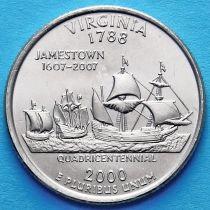 США 25 центов 2000 год. Вирджиния.