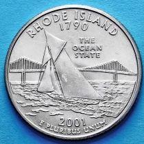 США 25 центов 2001 год. Род-Айленд.