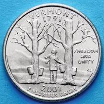 США 25 центов 2001 год. Вермонт.