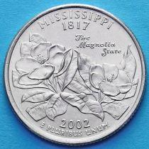 США 25 центов 2002 год. Миссисипи.