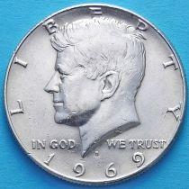 США 50 центов 1969 год. Серебро.
