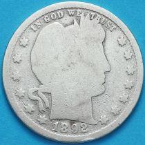 США квотер Барбера (25 центов) 1892 год. Филадельфия. Серебро.