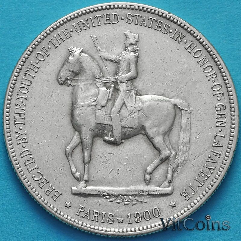 Монета США 1 доллар 1900 год. Лафайет. Серебро.