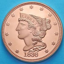 США жетон унция меди. Голова свободы 1836.