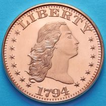 США жетон унция меди. Первый серебряный доллар 1794.