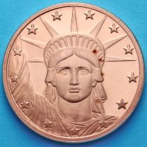 США жетон унция меди. Голова статуи свободы.