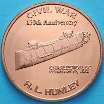 США жетон унция меди. Субмарина конфедератов Ханли.