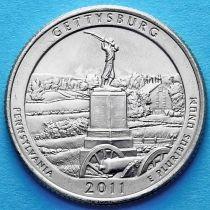 США 25 центов 2011 год. Национальный парк Геттисберг. Р №6