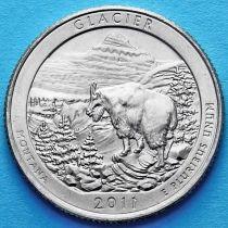 США 25 центов 2011 год. Национальный парк Глейшер.