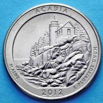США 25 центов 2012 год. Национальный парк Акадия. Р №13