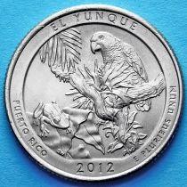 США 25 центов 2012 год. Национальный лес Эль-Юнке.