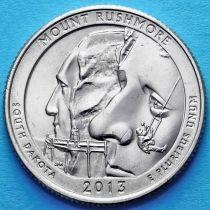 США 25 центов 2013 год. Национальный мемориал Маунт-Рашмор. Р №20