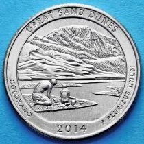 США 25 центов 2014 год. Национальный парк Великие Песчаные Дюны. Р №24