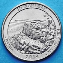 США 25 центов 2014 год. Национальный парк Шенандоа. Р №22