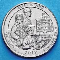 США 25 центов 2017 год. Национальный монумент острова Эллис. Р