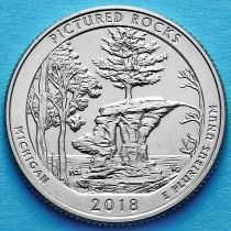 США 25 центов 2018 год. Национальное побережье живописных камней в Мичигане. Р №41