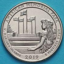 США 25 центов 2019 год. Американский мемориальный парк. Р.
