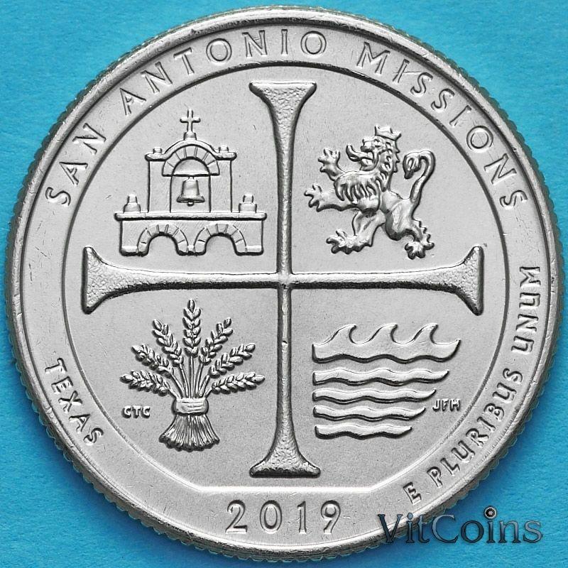 Монета США 25 центов 2019 год. Миссии Сан Антонио. D.
