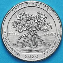 США 25 центов 2020 год. Национальный парк Солт-Ривер-Бэй. Р.