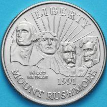 США 50 центов 1991 год. D. Мемориал Рашмор.