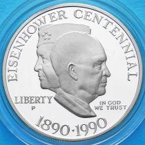 США 1 доллар 1990 год. 100 лет Эйзенхауэру. Серебро. Пруф.