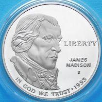 США 1 доллар 1993 год. Джеймс Мэдисон. Серебро. Пруф.