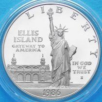 США 1 доллар 1986 год. 100 лет Статуе Свободы. Серебро. Пруф.