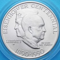 США 1 доллар 1990 год. 100 лет Эйзенхауэру. Серебро.