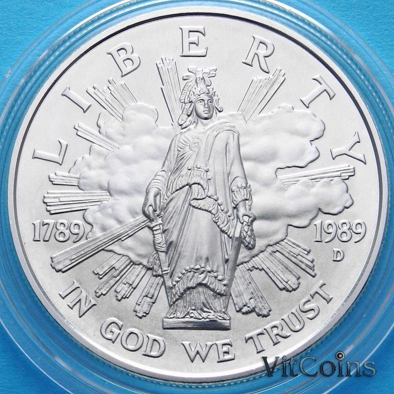 Монеты США 1 доллар 1989 год. 200 лет Конгрессу США. Серебро.