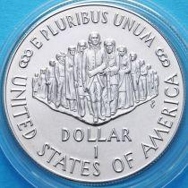 США 1 доллар 1987 год. 200 лет Конституции. Серебро.