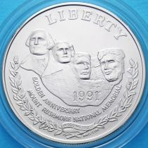 США 1 доллар 1991 год. Мемориал Рашмор. Серебро.