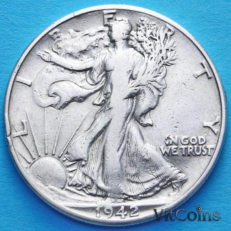 Монеты США 50 центов 1942 год. Серебро.