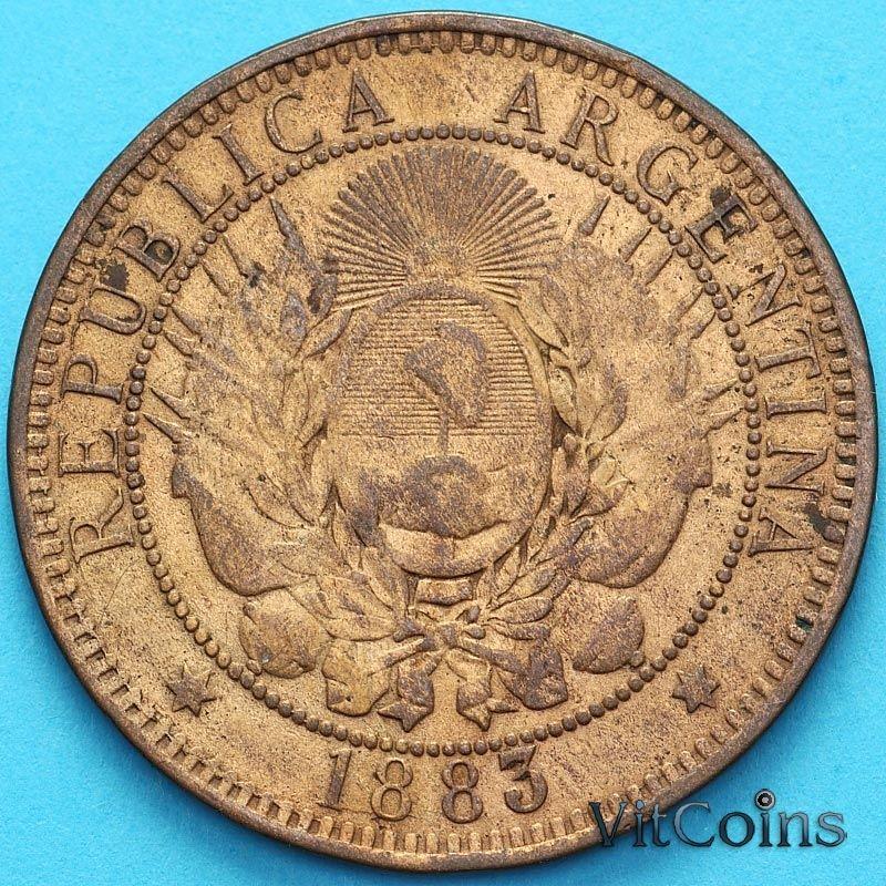 Монета Аргентина 2 сентаво 1883 год.