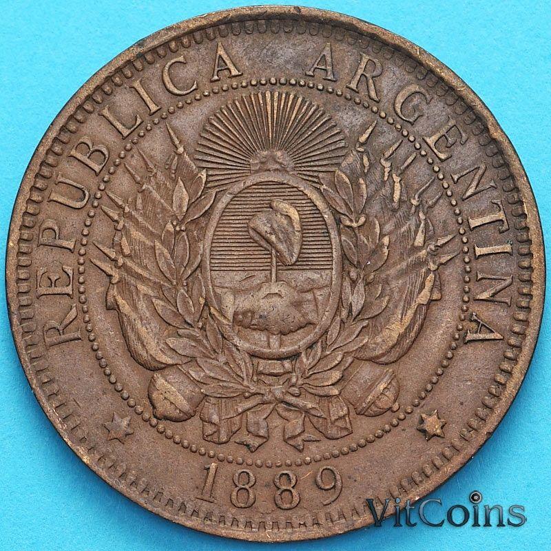 Монета Аргентина 2 сентаво 1889 год.