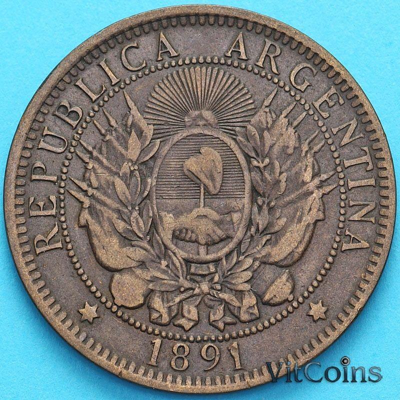 Монета Аргентина 2 сентаво 1891 год.