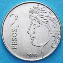 Аргентина 2 песо 2010 год. 75 лет Центральному Банку.