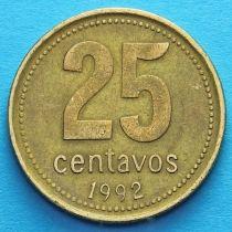 Аргентина 25 сентаво 1992-2010 год.