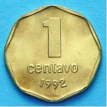 Аргентина 1 сентаво 1992 год. Тип 1.