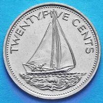 Багамские острова 25 центов 1977 год. Парусник.