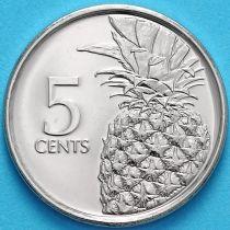 Багамские острова 5 центов 2016 год. Ананас.