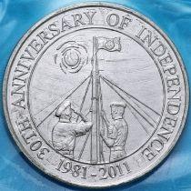 Белиз 2 доллара 2011 год. 30 лет Независимости