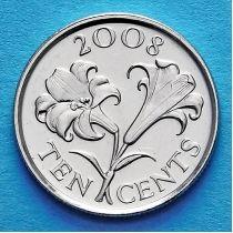 Бермудские острова 10 центов 2008 год. Бермудские лилии.