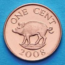Бермудские острова 1 цент 2008 год. Дикий кабан.