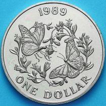 Бермудские острова 1 доллар 1989 год. Бабочка Данаида монарх.