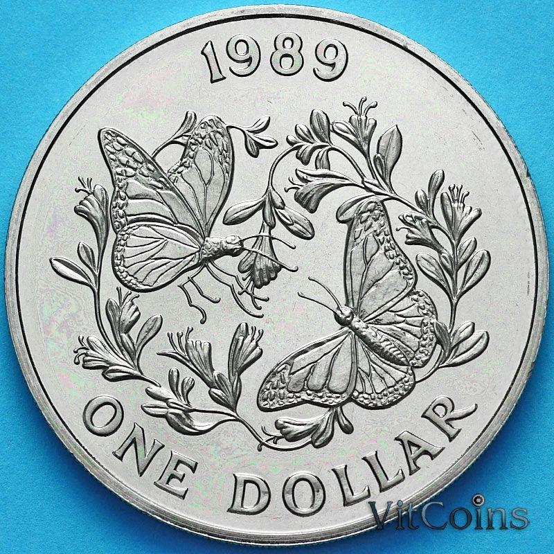 Монета Бермудские острова 1 доллар 1989 год. Бабочка Данаида монарх.